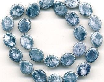 Vintage Denim Blue Beads 10mm Picasso Twists 30 Pcs.