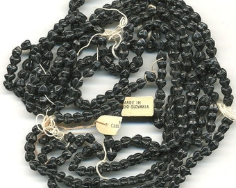 Vintage Black Beads 5mm French Glass Jet Circa 1920s Czech 36 Pcs. Cap Shape