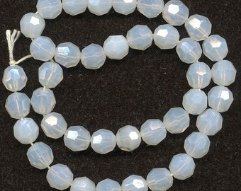 Vintage Opaline Beads 8mm Faceted Milky Glass W. Germany