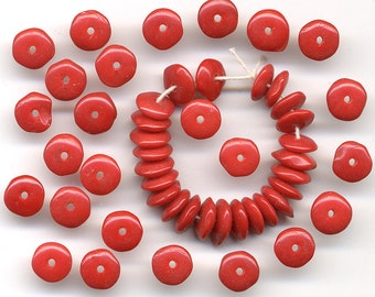 Vintage Red Beads 7mm Rondelle Spacers 50 Pcs.