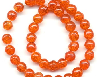 Vintage Crackle Beads 5mm Dark Orange Glass Rounds 40 Pcs.