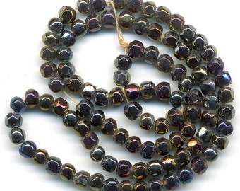 Vintage Iris Beads 4mm English Cut Glass 100 Pcs.