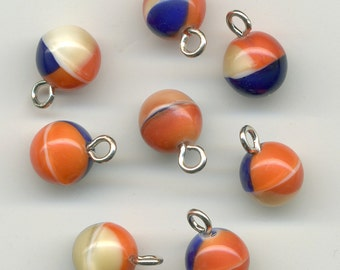 Vintage 7mm Beads or Buttons Orange, Navy Blue & Cream Mix