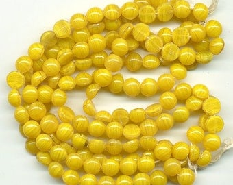 Vintage Yellow Nailhead Beads 7mm Butterscotch Agate Glass 6 Strand Hank