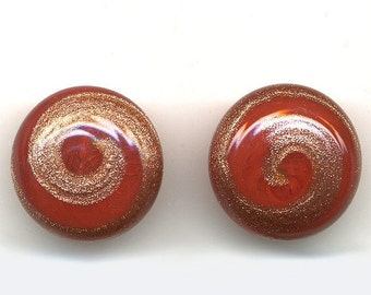 Vintage Venetian Buttons - 21mm Red Glass w/ Aventurine Swirl - 1960s