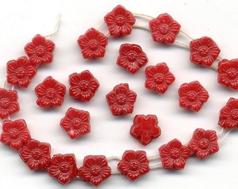 Vintage Flower Nailhead Beads Two Holes 1920s Czech Lipstick Red 24 Pcs.