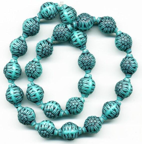 Vintage Aqua And Black Flower Pattern Plastic Beads