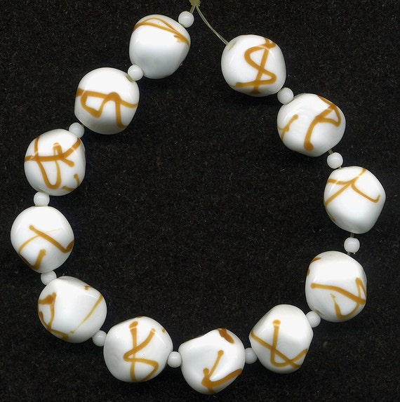 Vintage White Swirled Beads 12mm Glass w/ Caramel Ribbons