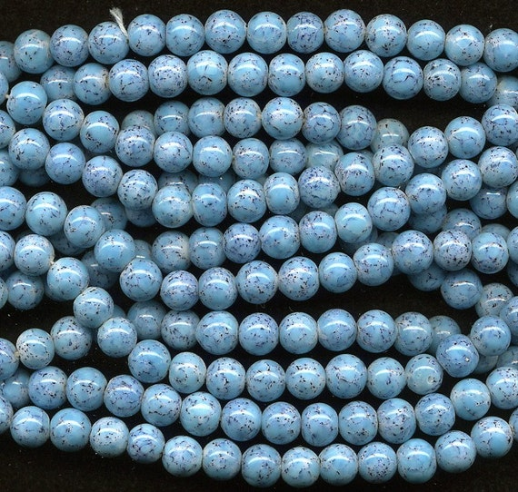 Vintage Turquoise Look Beads 8mm Glass Rounds w/ Matrix