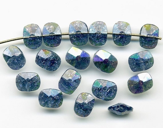 Vintage Montana Blue AB Beads Crackle Glass 8x6mm Faceted Flat Rectangles