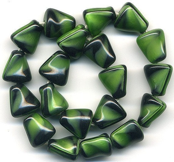 Vintage Green Glass Beads 12mm Green & Black Twists - W. G.