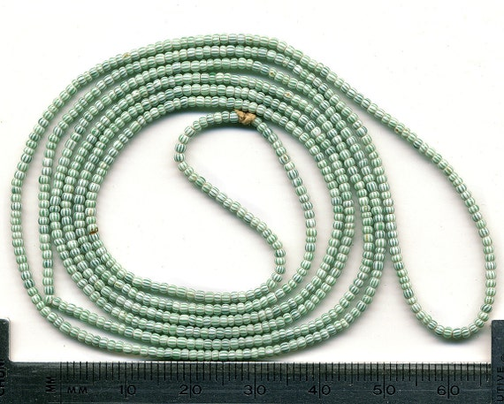 Striped Venetian Seed Beads - Antique White & Green Tiny Size
