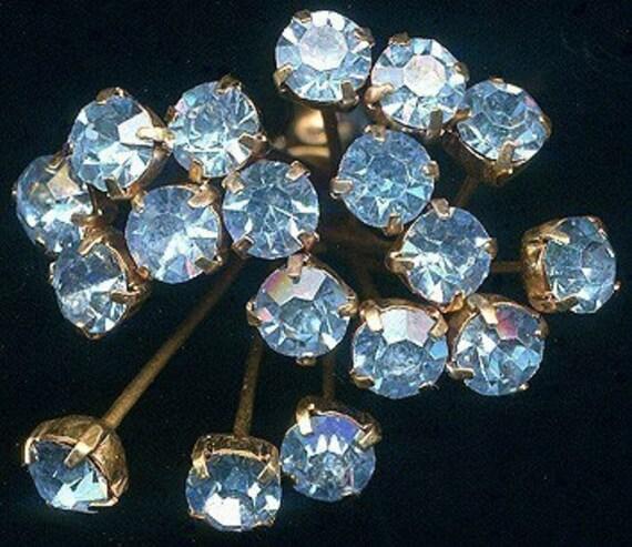 Vintage Rhinestone Headpins Lt Sapphire Crystal - 12 Pcs. Prong Set