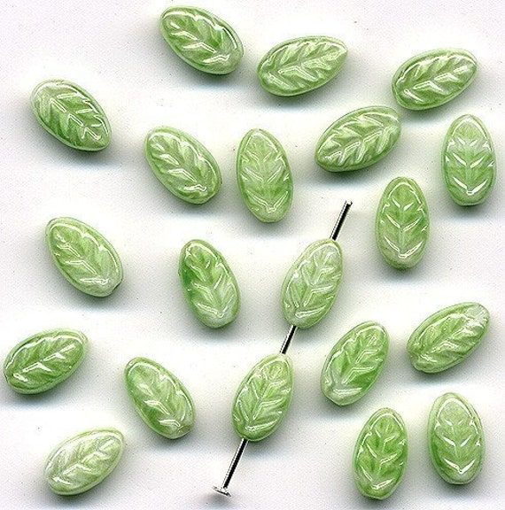 Vintage Glass Leaf Beads