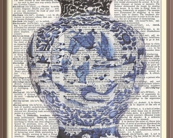 Antique Blue and White Ginger Jar---Vintage Dictionary Art Print-Fits 8x10 Mat or Frame