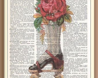 Antique Roller Skate w Rose/Steampunk  print on  vintage dictionary  page.