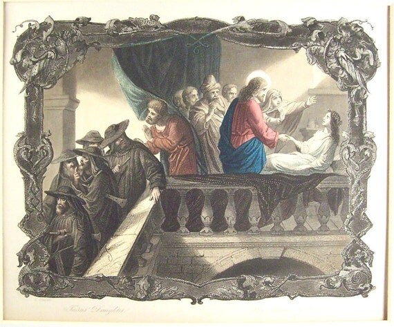 The Raising of Jarius' Daughter A H Payne Steel Engraving 1860