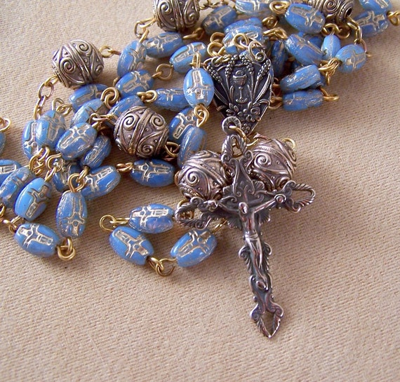 Rosary Blue Crucifix Czech Bead Handcrafted