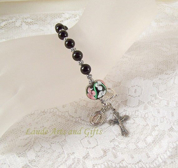 Miraculous Medal Rosary Bracelet Black Onyx Adjustable