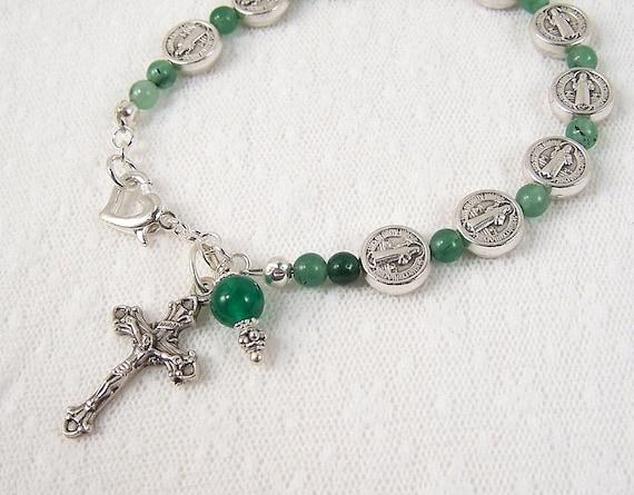 St Benedict  Rosary Bracelet Green Jade Adjustable