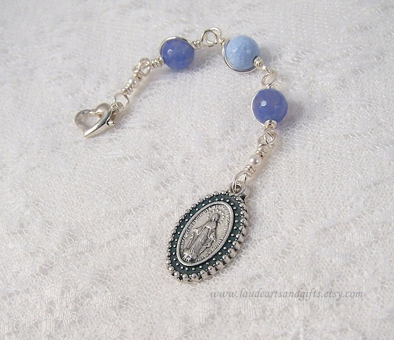 Three Hail Mary Devotion Chaplet Miraculous Medal Blue Fire Agate Unbreakable
