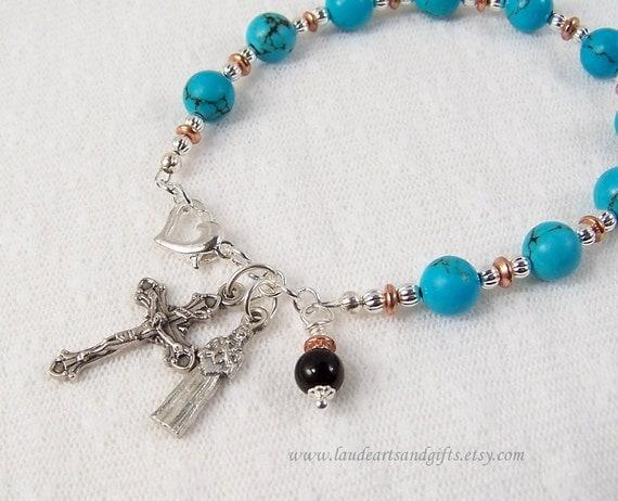 Rosary Bracelet St Kateri Tekakwitha Chinese Turquoise Adjustable