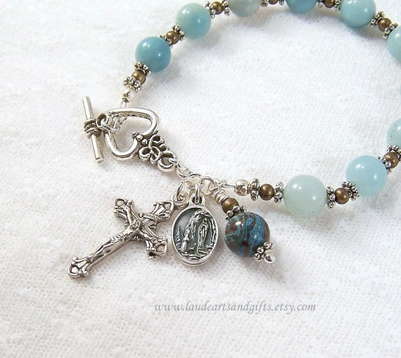 Our Lady of Lourdes Rosary Bracelet  Chaplet Prayer BeadsSt Bernadette Amazonite