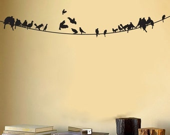 Birds sitting on a Powerline - Wall Decal -
