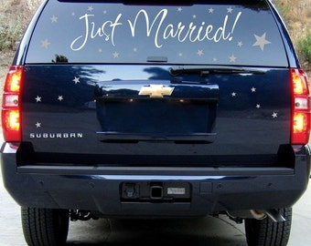 Just Married - Wedding - Newlyweds - Honeymoon - Car Window Decals - Wall Decals - Your choice of TWO colors