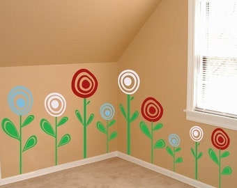 Cute Poppy Flowers - Set of 14 Poppies - Wall Decals - Your Choice of Colors