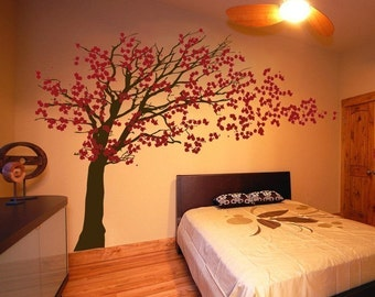 Cherry Blossom Tree - Blowing in the Wind - Wall Decals - Your Choice of Colors