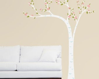 Peaceful Leaning Birch Tree with Blossoms - Full Color - Printed Wall Decals - Your Choice of Color Combination