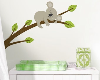 Sleepy Koala on a Branch - Full Color - Printed Wall Decals