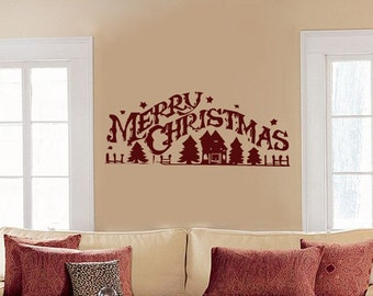 Merry Christmas - Rustic - Wall Decals - Your Choice of Color