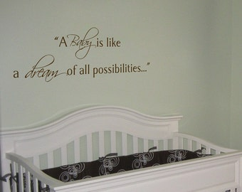 A Baby is like a Dream - Wall Quote - Wall Decals - Your Choice of Color