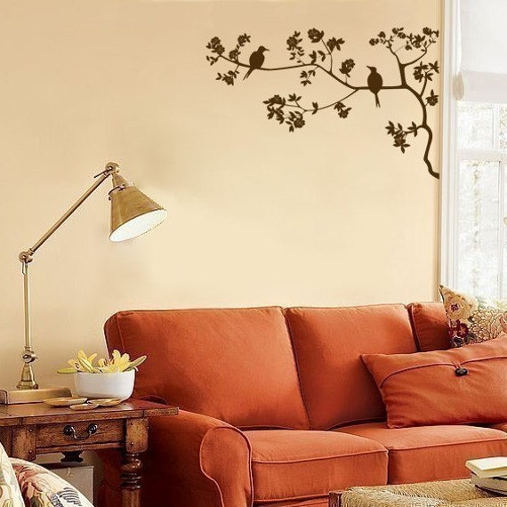 Two Little Birds Sitting in a Cherry Blossom Tree - Wall Decals - Your Choice of Color