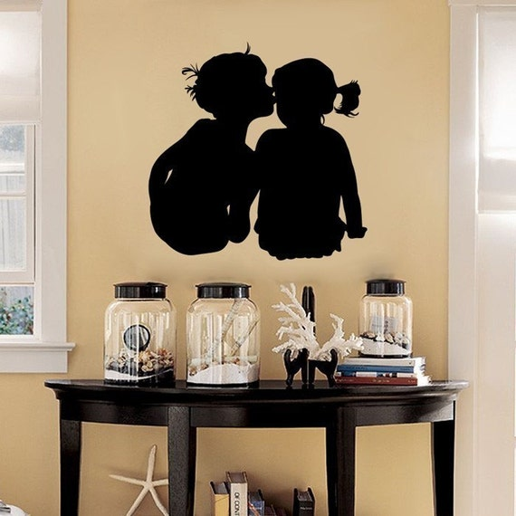 Little Boy Kissing the Little Girl - Aawwwww - Vinyl Wall Decals - Your Choice of Color -