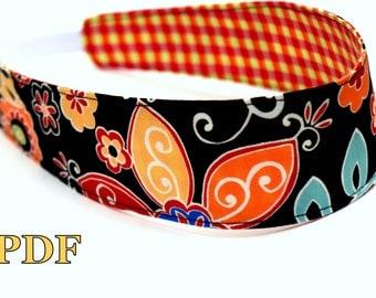 INSTANT DOWNLOAD Reversible Headband pattern pdf hair accessories girls diy handmade gift idea baby toddler women adult tweens cheer spring
