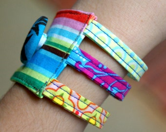 INSTANT DOWNLOAD Cuff Bracelet Pattern pdf triple multi three strand girls women diy handmade gift fabric jewelry sewing tutorial