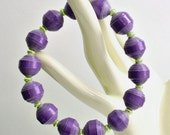REDUCED Royal Purple PAPER BEAD Stretch Bracelet - shipping included