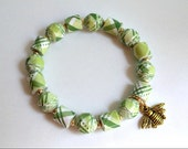 Spring Green Plaid, PAPER BEAD Stretch Bracelet, custom sizing