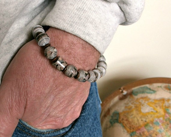 For Him - Pebble Print PAPER BEAD Stretch Bracelet - shipping included