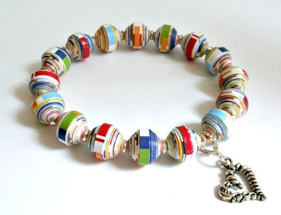 Primary Colors, Paper Bead Stretch Bracelet - custom sizing