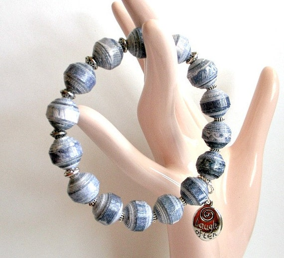 Washed Blue Denim PAPER BEAD Bracelet - custom sizing