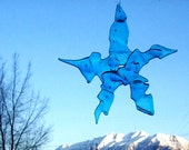 sky blue upcycled broken and fused glass star hanging suncatcher ornament