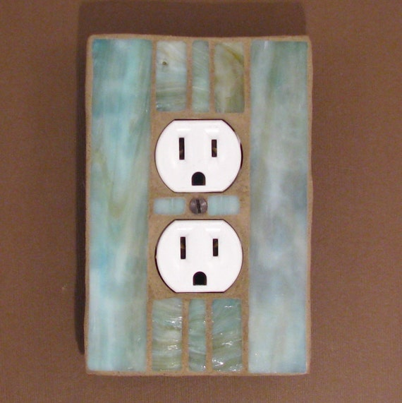 Stained Glass Outlet Cover - Outlet Plate - Outlet Cover Light Switch - Green Moss 7219