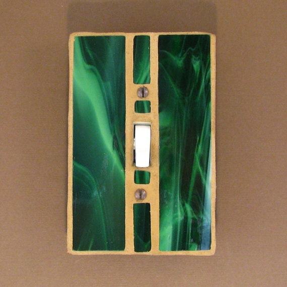 Single Toggle Stained Glass - Switch Plate Cover - Emerald Green 7285
