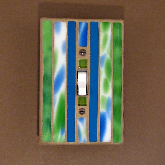 Lime Green - Bright Blue - Mosaic Stained Glass Switch Plate - Light Switch Cover - 7386