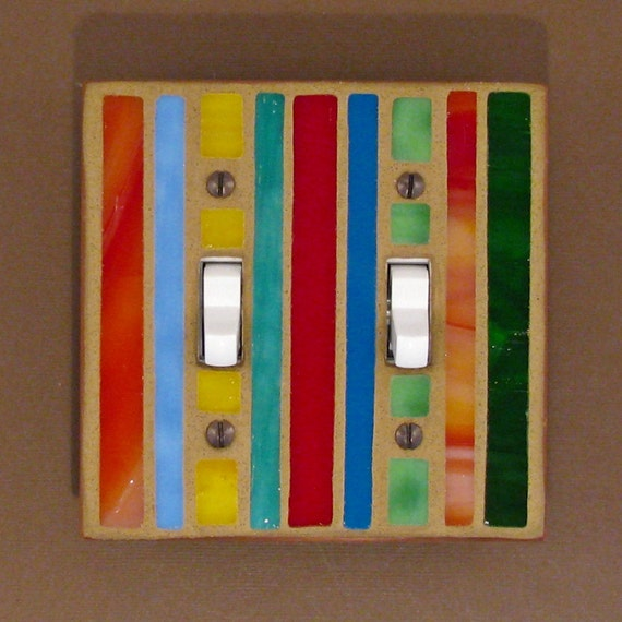 Double Toggle Light Switch Cover - Stained Glass Multi Colors - Switch Plate Cover 7387