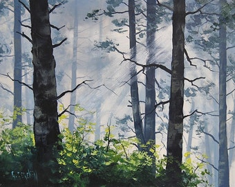 FOREST PAINTING OREGON Original Oil Painting by G.Gercken